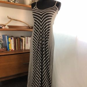 Anthropologie Puella Gray White Striped Maxi Dress